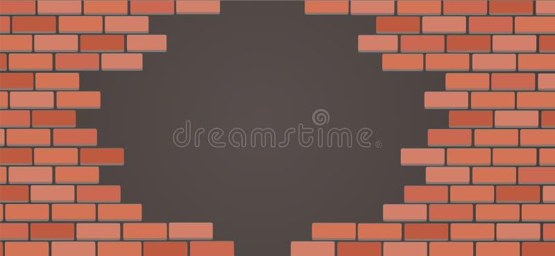 Τοίχος του διανύσματος τέχνης υποβάθρου τούβλων διανυσματική απεικόνιση