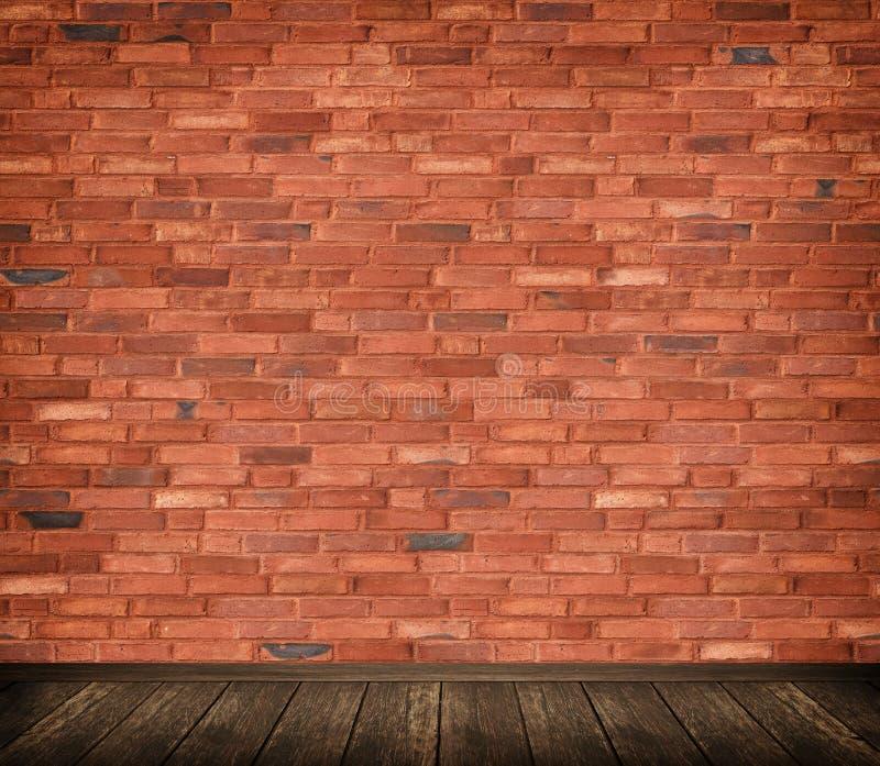 Τοίχος τούβλων και ξύλινο υπόβαθρο πατωμάτων ελεύθερη απεικόνιση δικαιώματος
