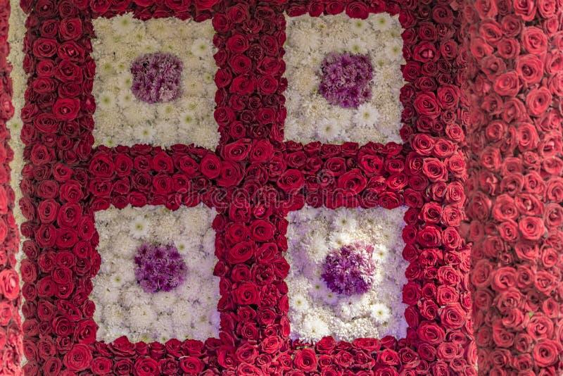 Τοίχος των ροδαλών λουλουδιών - διακοσμημένη επίδειξη στοκ φωτογραφία με δικαίωμα ελεύθερης χρήσης
