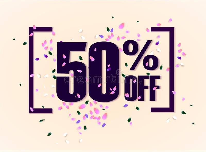50 τοις εκατό από την ετικέττα προώθησης έκπτωσης Ετικέτα πώλησης Promo διανυσματικές φλόγες στο άσπρο υπόβαθρο επίσης corel σύρε ελεύθερη απεικόνιση δικαιώματος