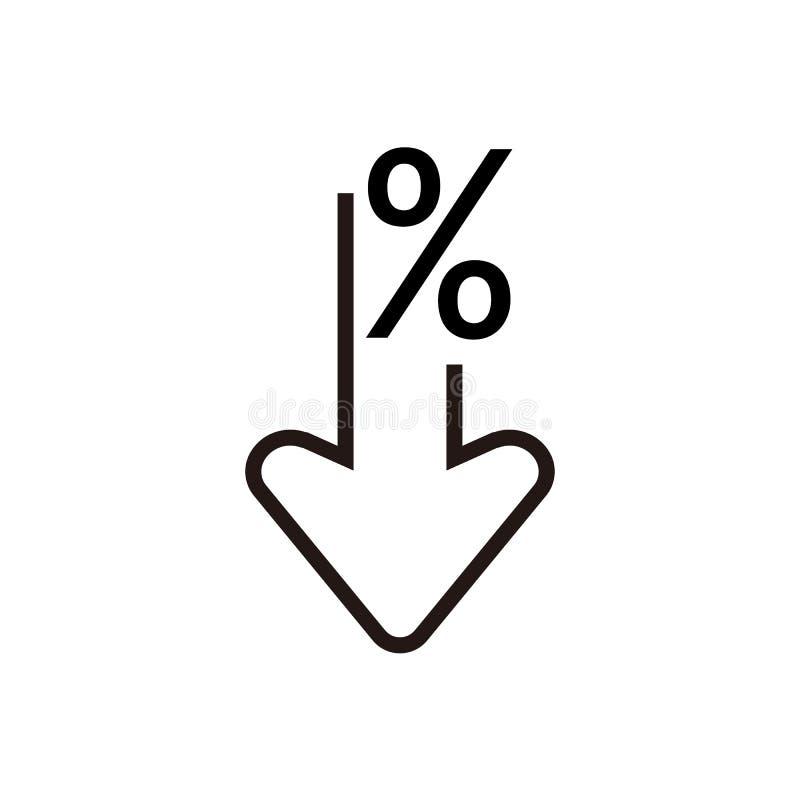 Τοις εκατό κάτω από το εικονίδιο γραμμών Ποσοστό, βέλος, μείωση i Μπορέστε να χρησιμοποιηθείτε για τα θέματα όπως την επένδυση, ε διανυσματική απεικόνιση
