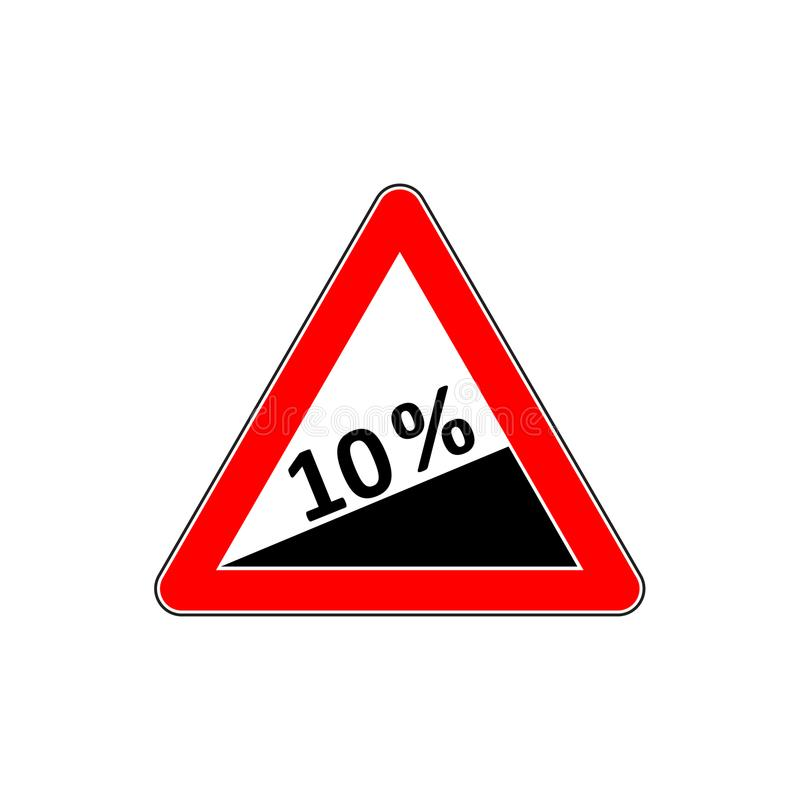 10 τοις εκατό κάτω από το σημάδι βαθμού, κάθοδος Σημάδι στάσεων με δύο κενά βέλη κατεύθυνσης ελεύθερη απεικόνιση δικαιώματος