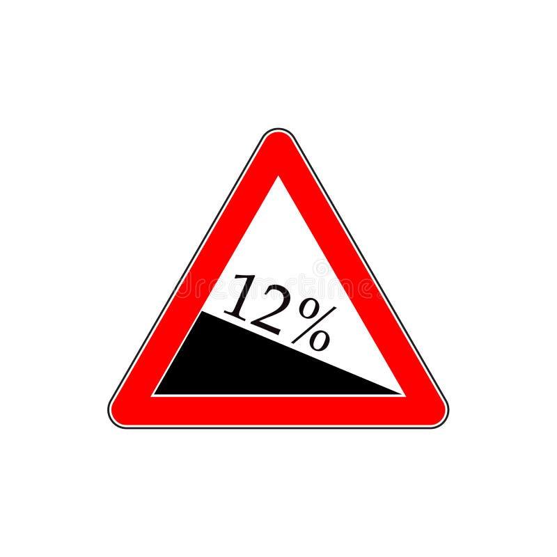 10 τοις εκατό κάτω από το σημάδι βαθμού, κάθοδος Σημάδι στάσεων με δύο κενά βέλη κατεύθυνσης απεικόνιση αποθεμάτων