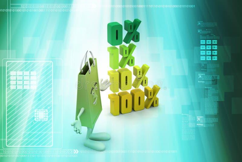 Τοις εκατό χρηματοδότησης έννοιας με την τσάντα αγορών απεικόνιση αποθεμάτων