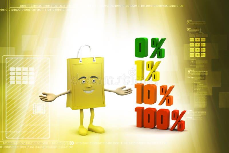 Τοις εκατό χρηματοδότησης έννοιας με την τσάντα αγορών διανυσματική απεικόνιση