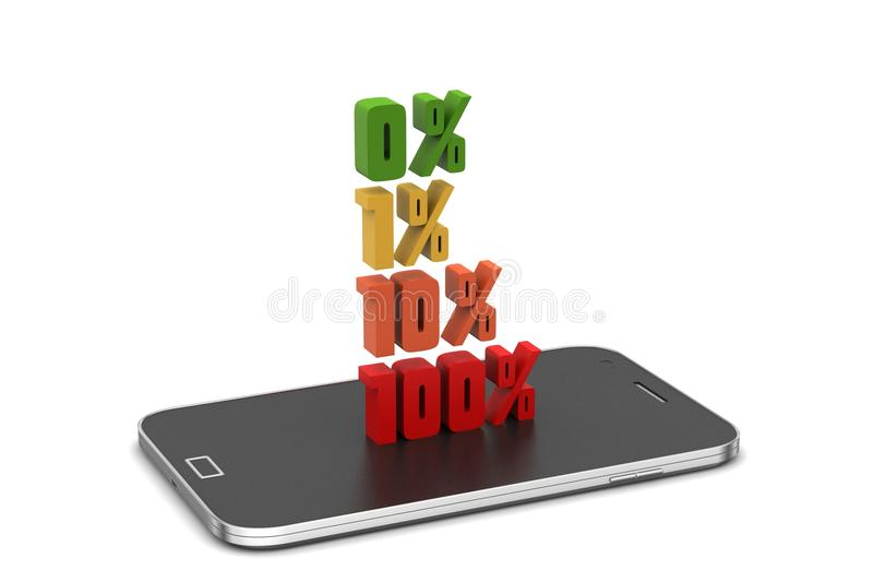 Τοις εκατό χρηματοδότησης έννοιας με το έξυπνο τηλέφωνο διανυσματική απεικόνιση