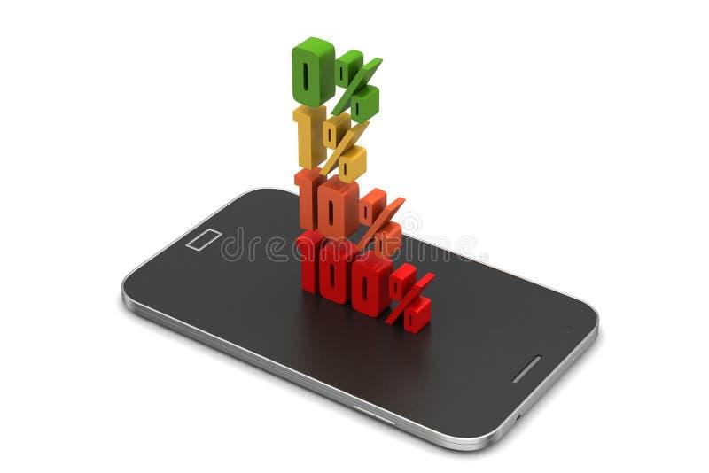Τοις εκατό χρηματοδότησης έννοιας με το έξυπνο τηλέφωνο απεικόνιση αποθεμάτων