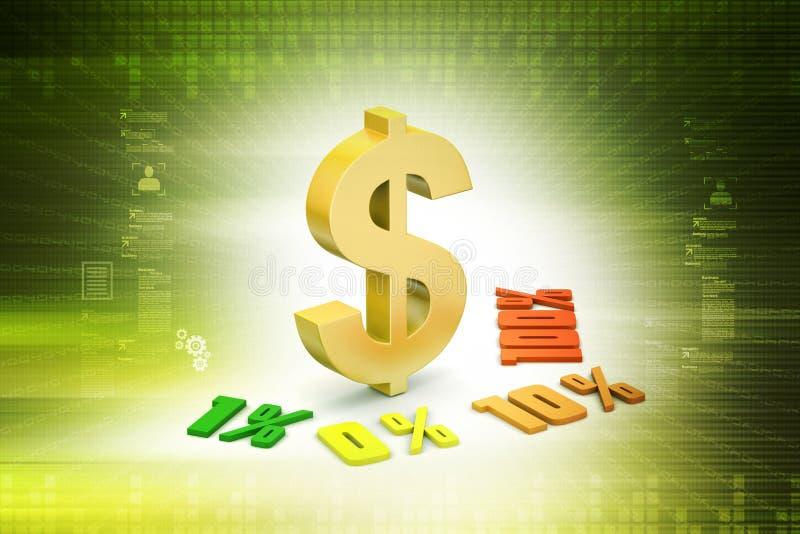 Τοις εκατό χρηματοδότησης έννοιας με το σημάδι δολαρίων διανυσματική απεικόνιση
