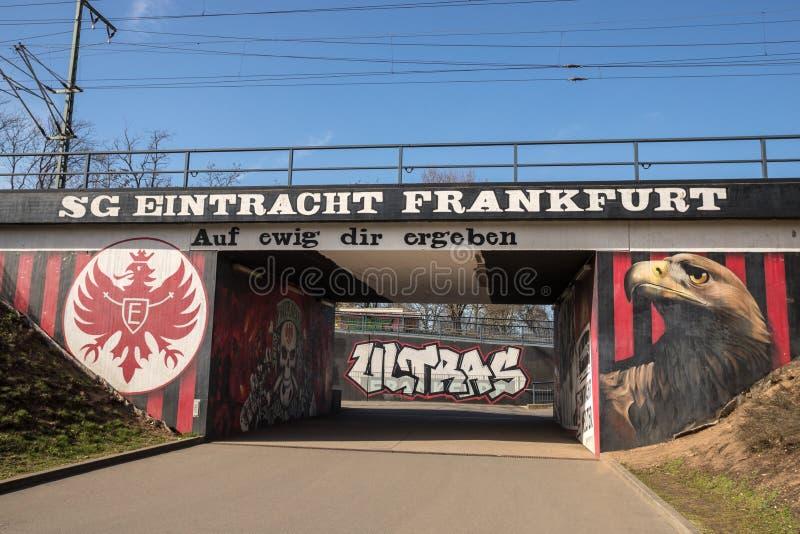 Τοιχογραφία λεσχών ποδοσφαίρου της Φρανκφούρτης Eintracht στη Φρανκφούρτη Γερμανία στοκ φωτογραφία με δικαίωμα ελεύθερης χρήσης