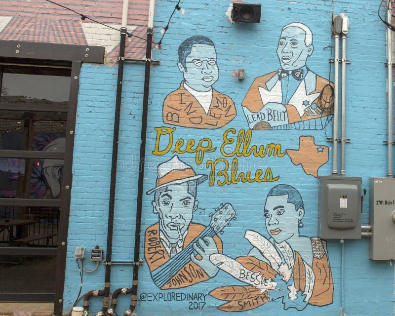 Τοιχογραφία τέχνης τοίχων σε βαθύ Ellum, Ντάλλας, Τέξας στοκ φωτογραφία με δικαίωμα ελεύθερης χρήσης