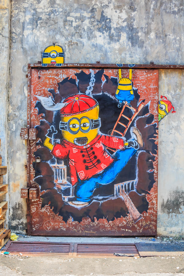 Τοιχογραφία Penang με Minions στοκ φωτογραφίες