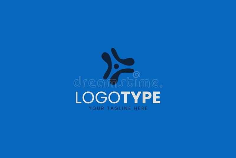 Τολμηρό και ισχυρό μπλε λογότυπο τεχνολογίας για τη εταιρία τεχνολογίας ή την εφαρμογή smartphone στοκ εικόνες