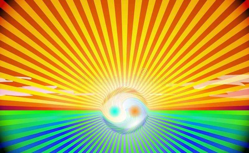 Τομέας επαρχίας υποβάθρου και μπλε έννοια Yin και mandala Yang Ζωηρόχρωμος ήλιος ή ανατολή με τον όμορφο ουρανό, σπιρίτσουαλ απεικόνιση αποθεμάτων