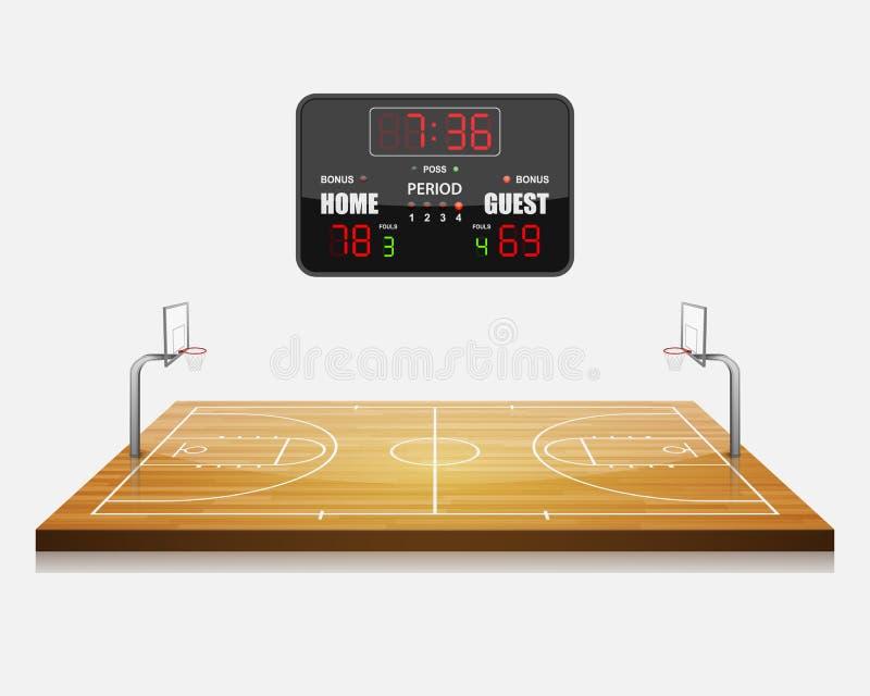 Τομέας καλαθοσφαίρισης με έναν πίνακα βαθμολογίας απεικόνιση αποθεμάτων