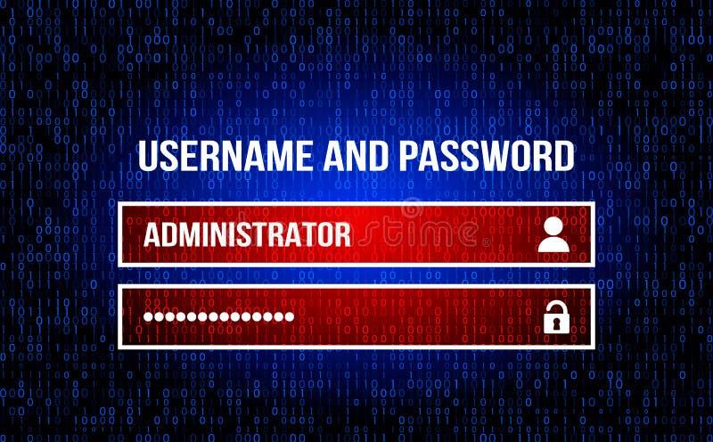 Τομέας ονόματος χρήστη - όνομα χρήστη και κωδικός πρόσβασης στη μηχανή αναζήτησης Διαδικτύου, το υπόβαθρο του ρεύματος του δυαδικ διανυσματική απεικόνιση