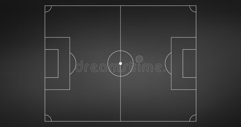 Τομέας παιχνιδιών ποδοσφαίρου ή ποδοσφαίρου που απομονώνεται στον πίνακα με τις άσπρες γραμμές Αθλητικό υπόβαθρο ή στοιχείο infog διανυσματική απεικόνιση