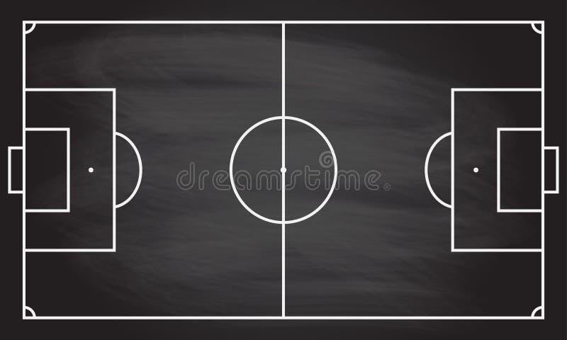 Τομέας παιχνιδιών ποδοσφαίρου ή ποδοσφαίρου στη σύσταση πινάκων με τριμμένο το κιμωλία υπόβαθρο Στοιχείο αθλητικού infographics απεικόνιση αποθεμάτων