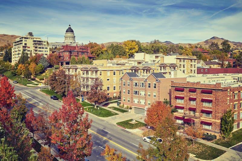 Τονισμένη τρύγος Σωλτ Λέικ Σίτυ κεντρικός το φθινόπωρο, ΗΠΑ στοκ εικόνες με δικαίωμα ελεύθερης χρήσης