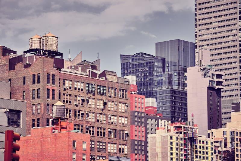 Τονισμένη χρώμα εικόνα του ορίζοντα πόλεων της Νέας Υόρκης στοκ εικόνα με δικαίωμα ελεύθερης χρήσης