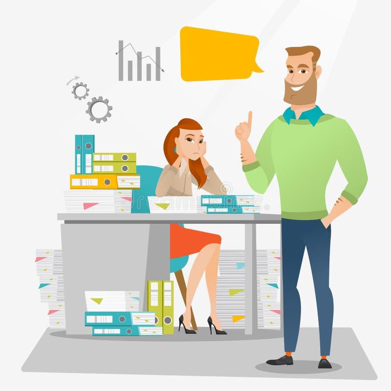 Τονισμένος εργαζόμενος γραφείων θηλυκών και ο εργοδότης της διανυσματική απεικόνιση