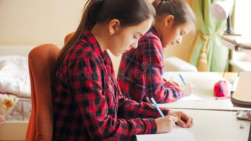 Τονισμένο πορτρέτο δύο κοριτσιών που κάνουν την εργασία πίσω από το γραφείο στο μεγάλο παράθυρο στοκ φωτογραφία με δικαίωμα ελεύθερης χρήσης