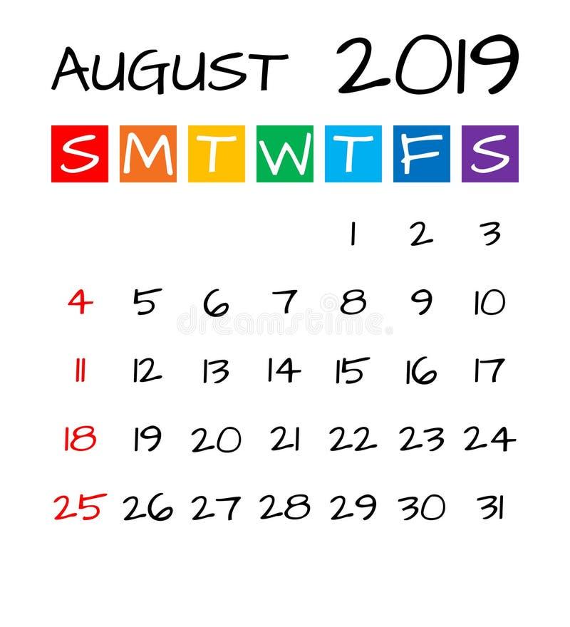 Τον Αύγουστο του 2019 ημερολόγιο, διανυσματική απεικόνιση ύφους παιδιών απεικόνιση αποθεμάτων