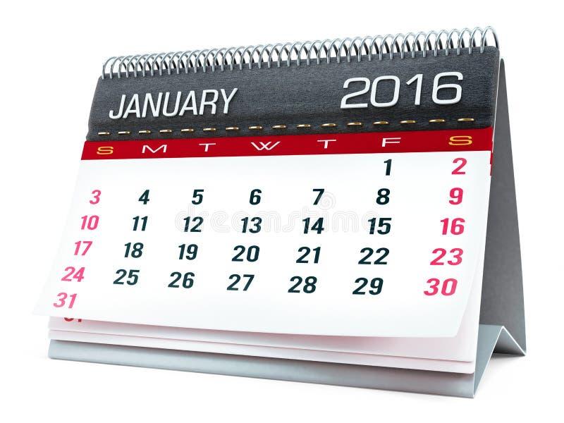 Τον Ιανουάριο του 2016 ημερολόγιο υπολογιστών γραφείου στοκ φωτογραφίες