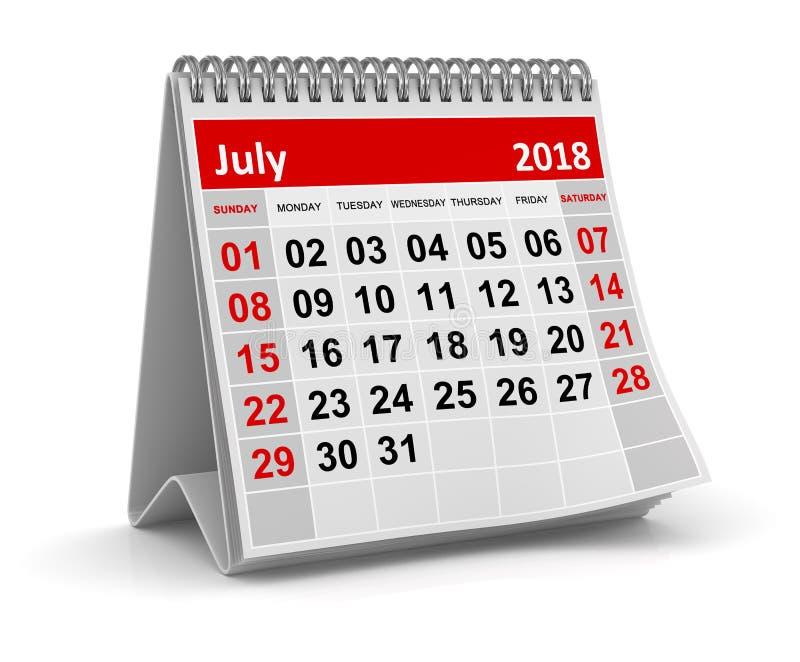Τον Ιούλιο του 2018 - ημερολόγιο διανυσματική απεικόνιση