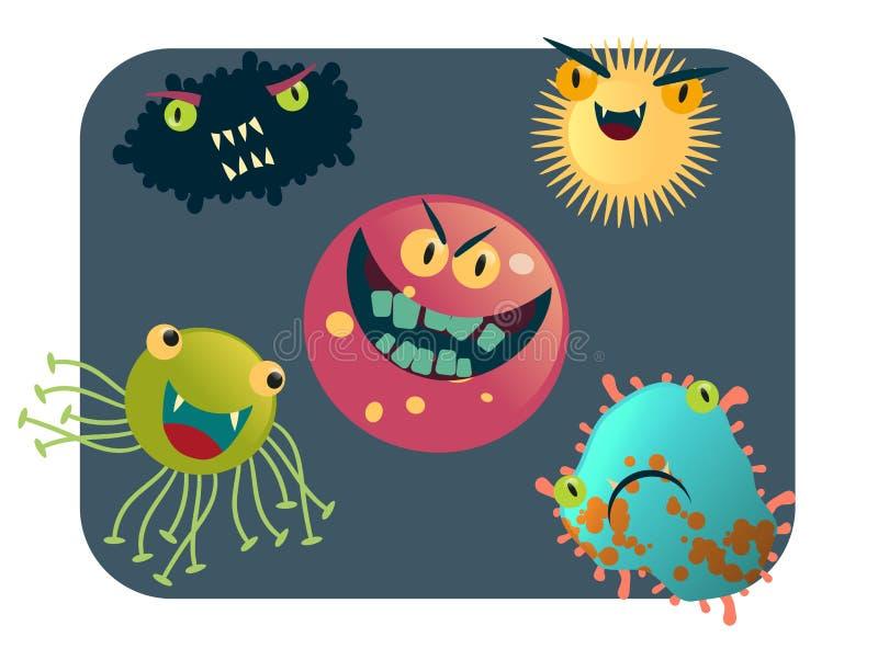 Τον ιό και τα βακτηρίδια καθορισμένους τη διανυσματική απεικόνιση ελεύθερη απεικόνιση δικαιώματος