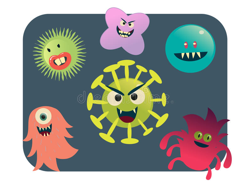 Τον ιό και τα βακτηρίδια καθορισμένους τη διανυσματική απεικόνιση διανυσματική απεικόνιση