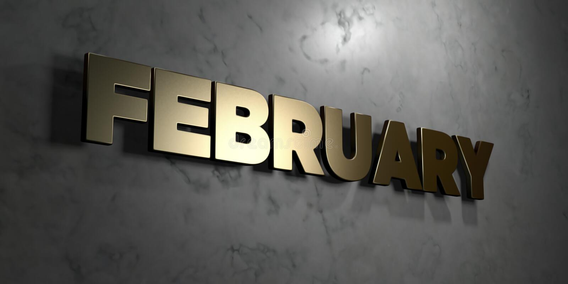 Τον Φεβρουάριος - χρυσό του σημάδι που τοποθετείται στο στιλπνό μαρμάρινο τοίχο - τρισδιάστατο δικαίωμα ελεύθερη απεικόνιση αποθε απεικόνιση αποθεμάτων