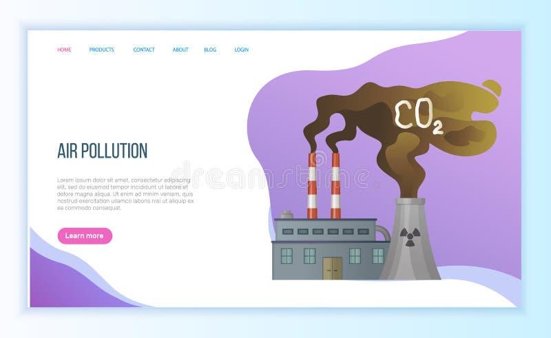 Τοξικός εκφόρτισης αερίου από τις εγκαταστάσεις, διάνυσμα εργοστασίων ελεύθερη απεικόνιση δικαιώματος
