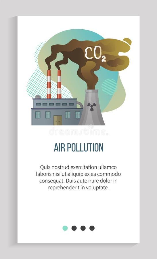 Τοξικός εκφόρτισης αερίου από τις εγκαταστάσεις, εργοστάσιο διανυσματικό App ελεύθερη απεικόνιση δικαιώματος