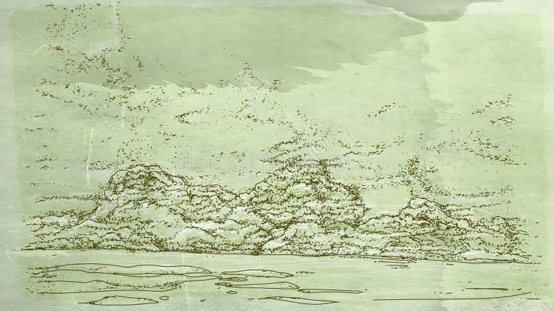 Τοπία με τα σύννεφα και τα σύννεφα διανυσματική απεικόνιση