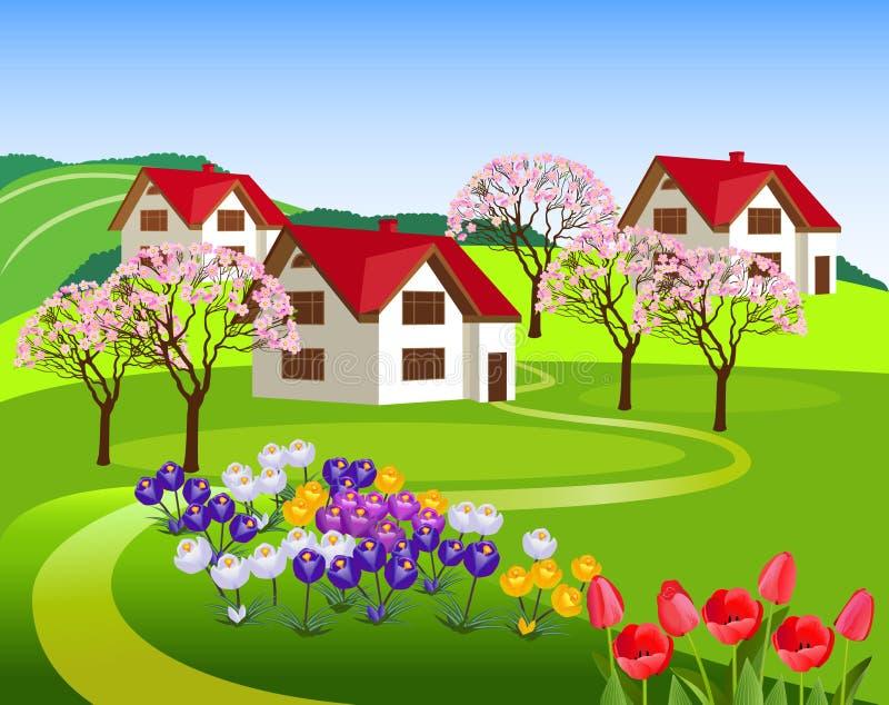 Τοπίο άνοιξη με τα μικρά σπίτια διανυσματική απεικόνιση