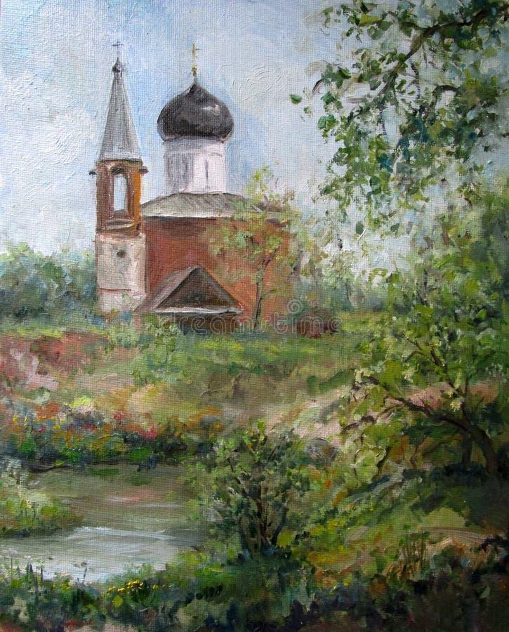 Τοπίο άνοιξη με την εκκλησία, ελαιογραφία διανυσματική απεικόνιση