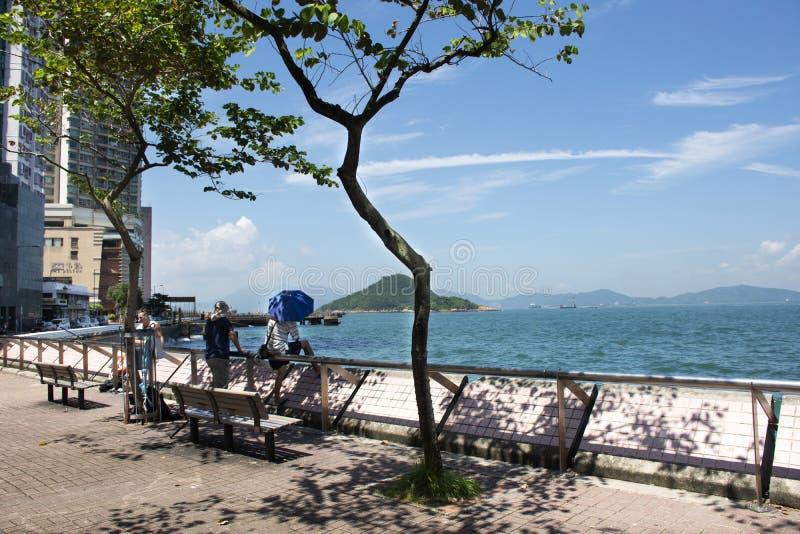 Τοπίο άποψης του νησιού Χονγκ Κονγκ με τη θάλασσα του λιμανιού Βικτώριας στην πόλη Kennedy στο Χονγκ Κονγκ στοκ φωτογραφίες