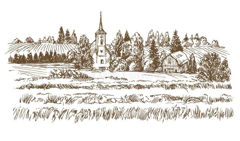 τοπίο αγροτικό Ρομαντικά χωριό και λιβάδια ελεύθερη απεικόνιση δικαιώματος
