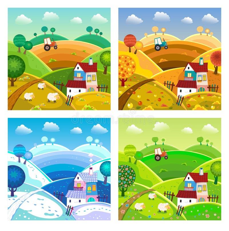 τοπίο αγροτικό τέσσερις εποχές απεικόνιση αποθεμάτων