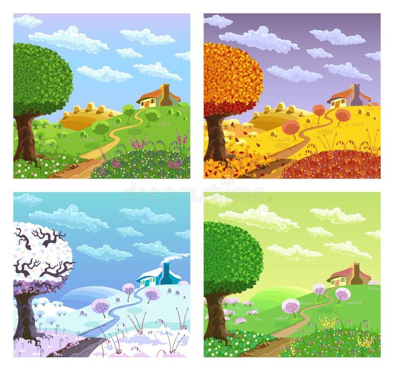 τοπίο αγροτικό τέσσερις εποχές ελεύθερη απεικόνιση δικαιώματος