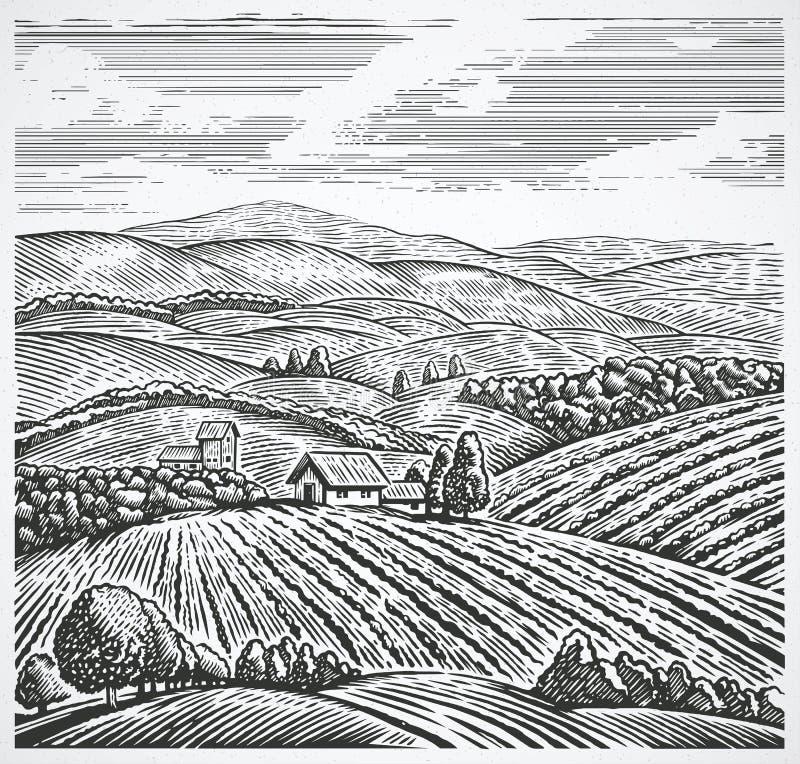 τοπίο αγροτικό διανυσματική απεικόνιση