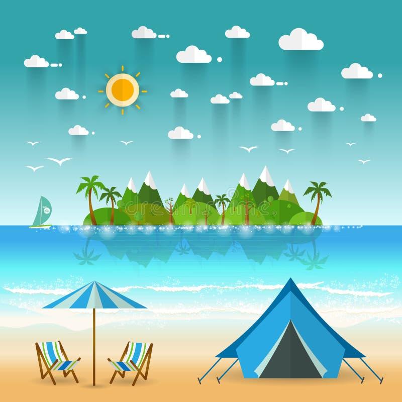 Τοπίο ακτών παραδείσου με τα βουνά Διακοπές καλοκαιρινό εκπαιδευτικό κάμπινγκ ομο απεικόνιση αποθεμάτων