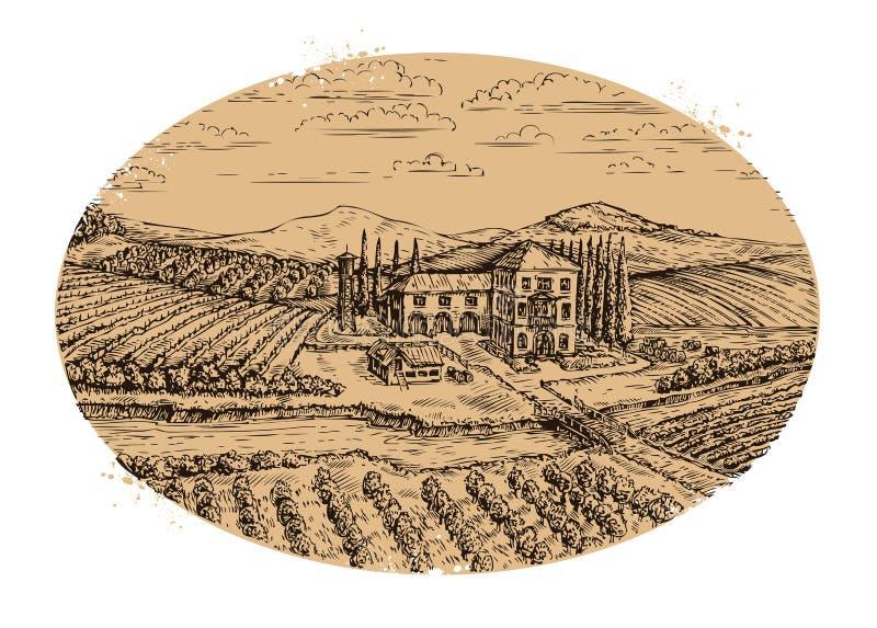 Τοπίο αμπελώνων Hand-drawn εκλεκτής ποιότητας αγροτική γεωργία επίσης corel σύρετε το διάνυσμα απεικόνισης ελεύθερη απεικόνιση δικαιώματος