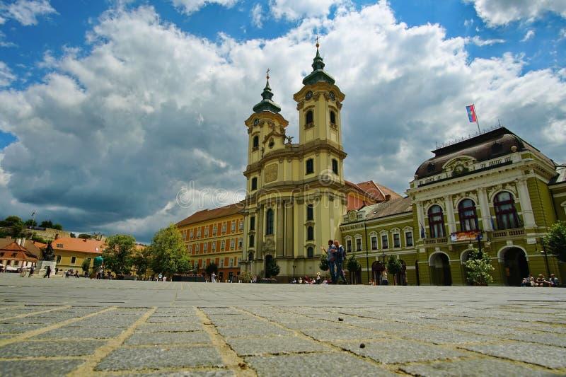 Τοπίο από το μεσαιωνικό κέντρο Eger, Ουγγαρία στοκ εικόνες