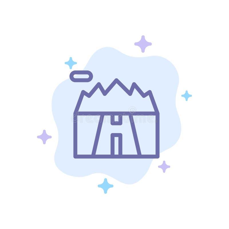 Τοπίο, βουνά, τοπίο, οδικό μπλε εικονίδιο στο αφηρημένο υπόβαθρο σύννεφων ελεύθερη απεικόνιση δικαιώματος