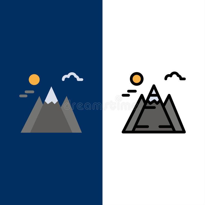 Τοπίο, βουνό, εικονίδια ήλιων Επίπεδος και γραμμή γέμισε το καθορισμένο διανυσματικό μπλε υπόβαθρο εικονιδίων ελεύθερη απεικόνιση δικαιώματος