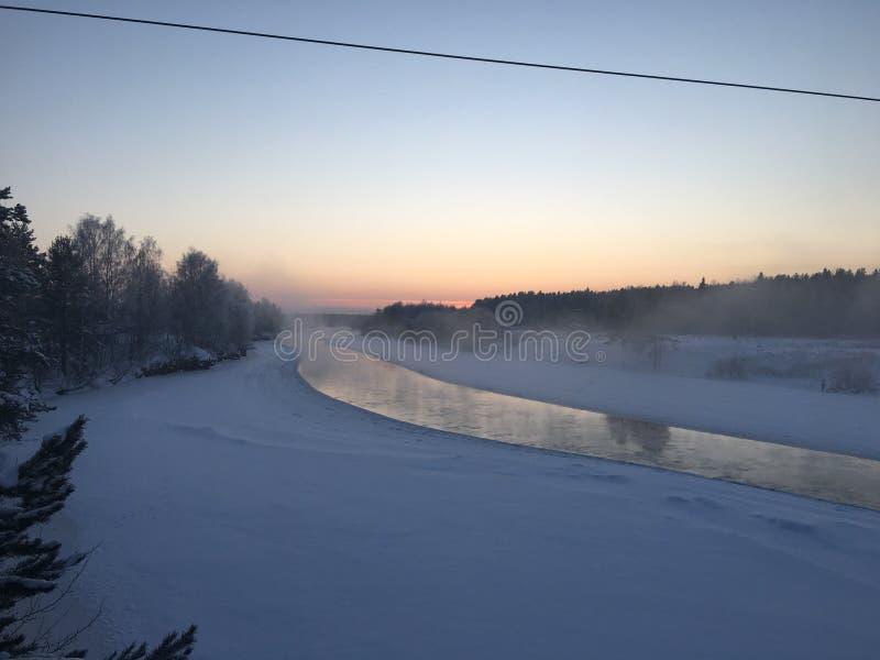 Τοπίο βουνών: δάσος και ποταμός πεύκων στο χειμερινό ηλιοβασίλεμα στοκ φωτογραφία