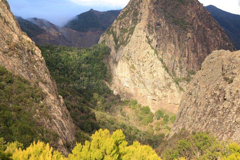 Τοπίο βουνών του νησιού του Λα Gomera Κανάρια νησιά tenerife Ισπανία στοκ φωτογραφία