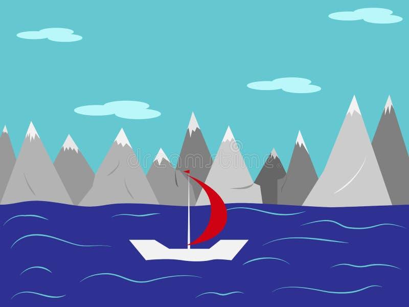 Τοπίο Γιοτ με ένα κόκκινο πανί στη θάλασσα ενάντια στο βουνό διανυσματική απεικόνιση