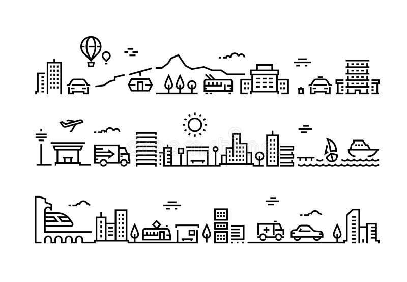 Τοπίο γραμμών πόλεων Κτιρίων γραφείων αστική προαστιακή λεωφόρος ουρανοξυστών πάρκων περιβάλλοντος σπιτιών δημόσια Μεταφορά οδών απεικόνιση αποθεμάτων
